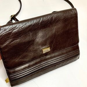 Perlina Crossbody Leather Brown Wallet Purse